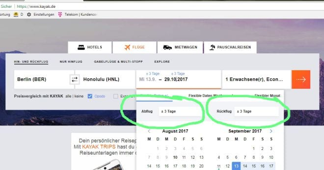 Screenshot Kayak Flugbuchungsseite