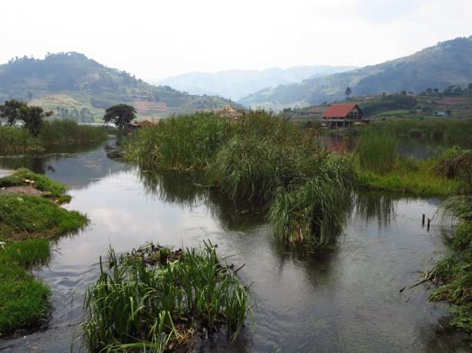See mit Schilf und Berglandschaft
