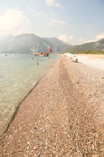 Langer Strand türkisfarbenes Wasser Berge
