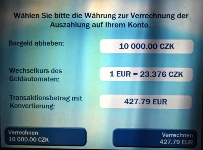 Geldautomat mit Umrechnungsfalle