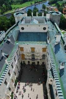 Turmblick vom Schloss Hluboká nad Vltavou