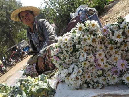 Blumenverkäuferin auf einem Markt am Inle-See in Myanmar