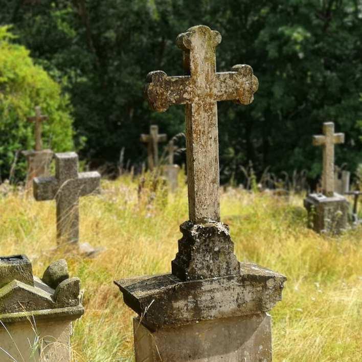 Grabsteine auf einer ungepflegten Wiese in Tschechien