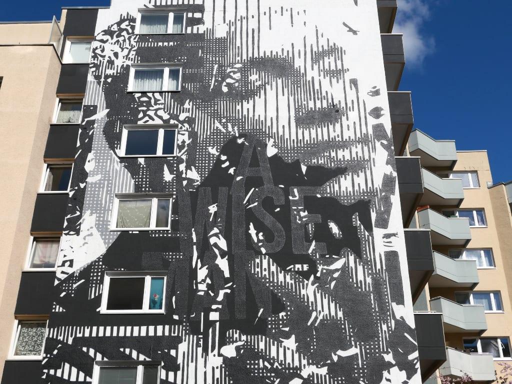 Schwarz-weißes, grafisches Mural