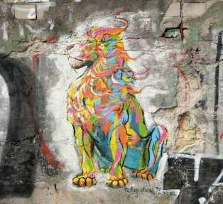 Gemalter Löwe an einer Wand