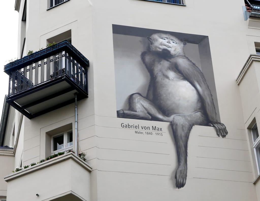 Mural Affe Häuserfassade