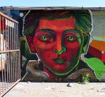 Mural rotes Gesicht