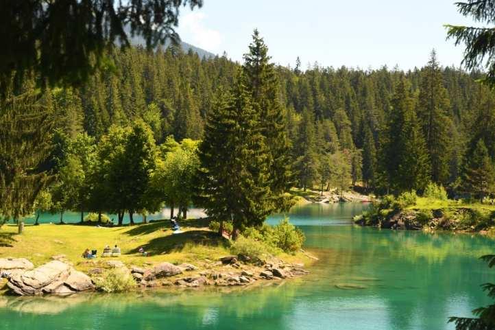 Türkis schimmernder See mit Wald drum herum