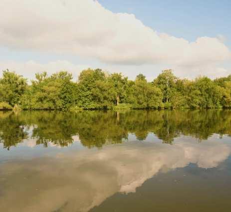 Wolken spiegeln sich in einem Fluss