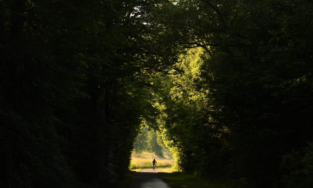 Radfahrerin in einem Hohlweg