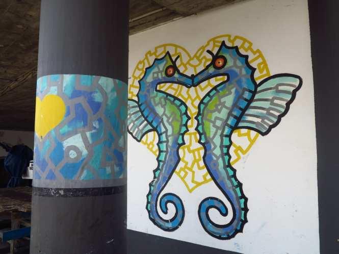 Mural küssende Seepferdchen