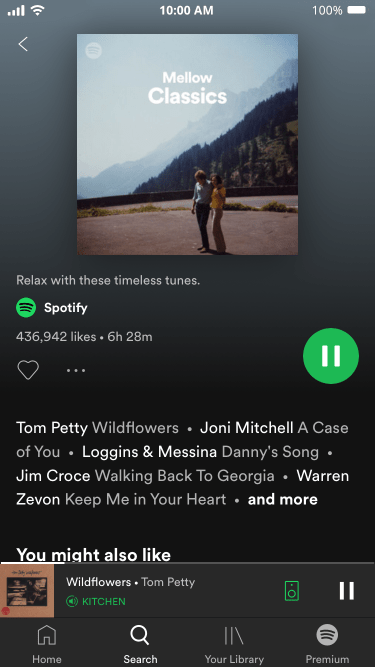 Spotify (Free version) Mellow Classics Now Playing Screenshot