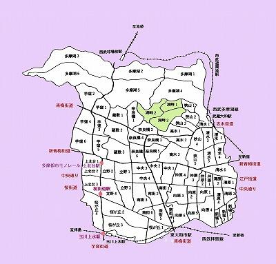 東大和市町名図湖畔