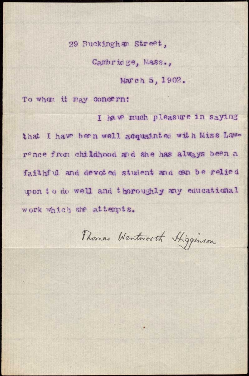 Writings of Thomas Wentworth Higginson 18651910 March 5 1902 Letter To Whom It May Concern