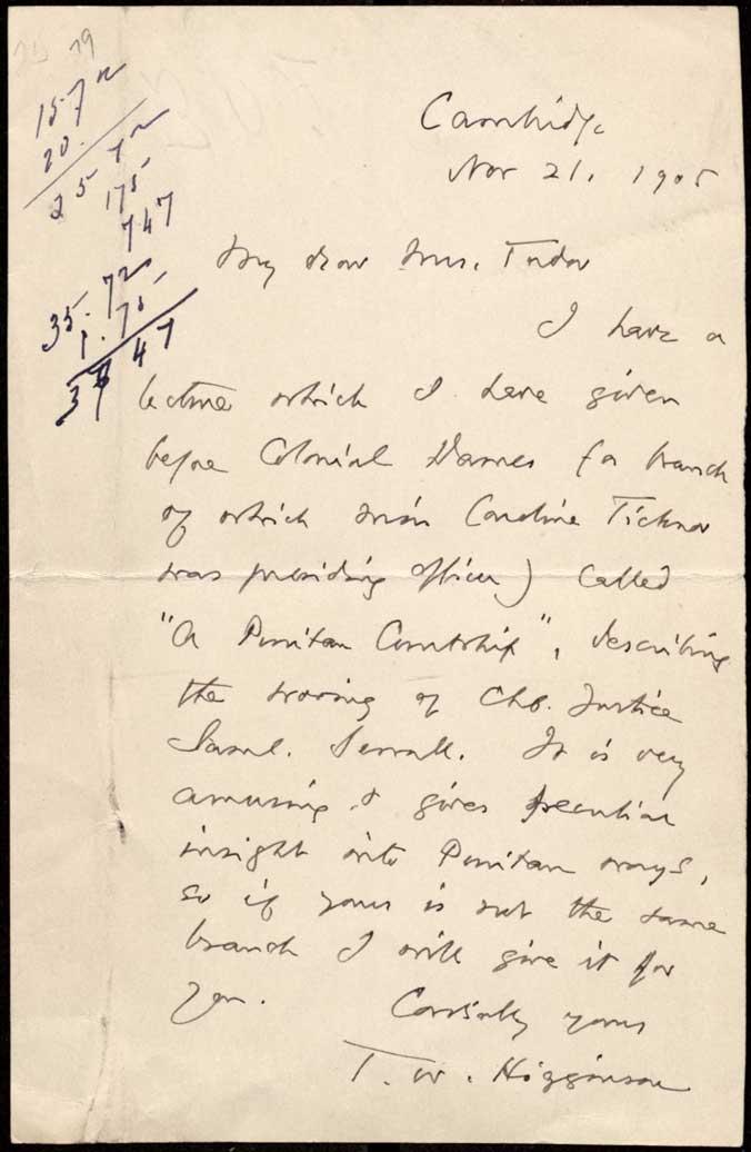 Writings of Thomas Wentworth Higginson 18651910 Nov 21