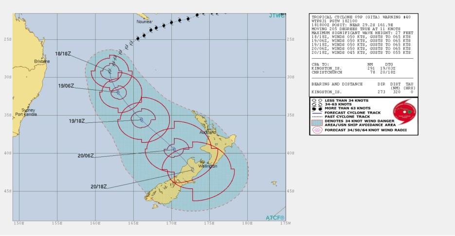 Tropical Cyclone Gita track map via JTWC