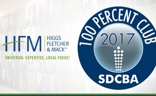 """Higgs Named To SD County Bar's """"100 Percent Club"""" for 12th Straight Year"""