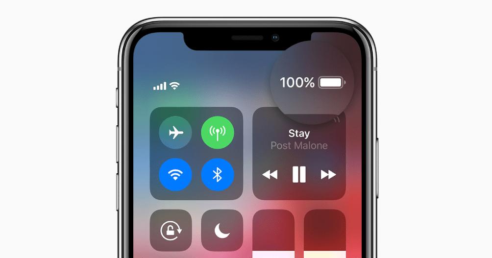 afficher pourcentage batterie iphone x