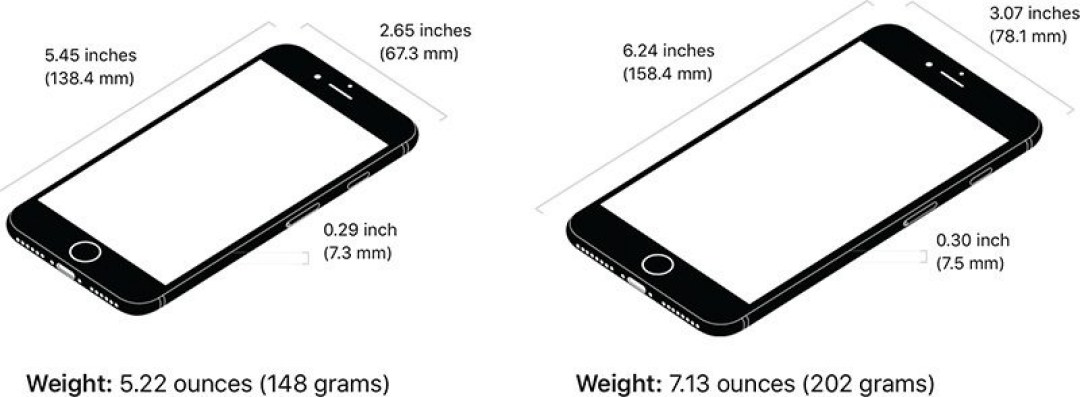 iphone 8 et iphone 8 taille
