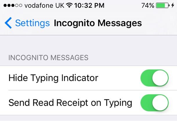 Incognito Messages tweak