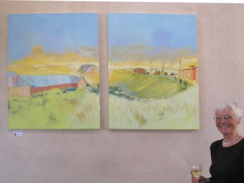 Barbara McCauley With Painting of Truchas