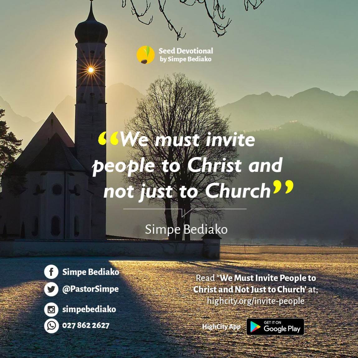We Must Invite People To Christ And Not Just To Church