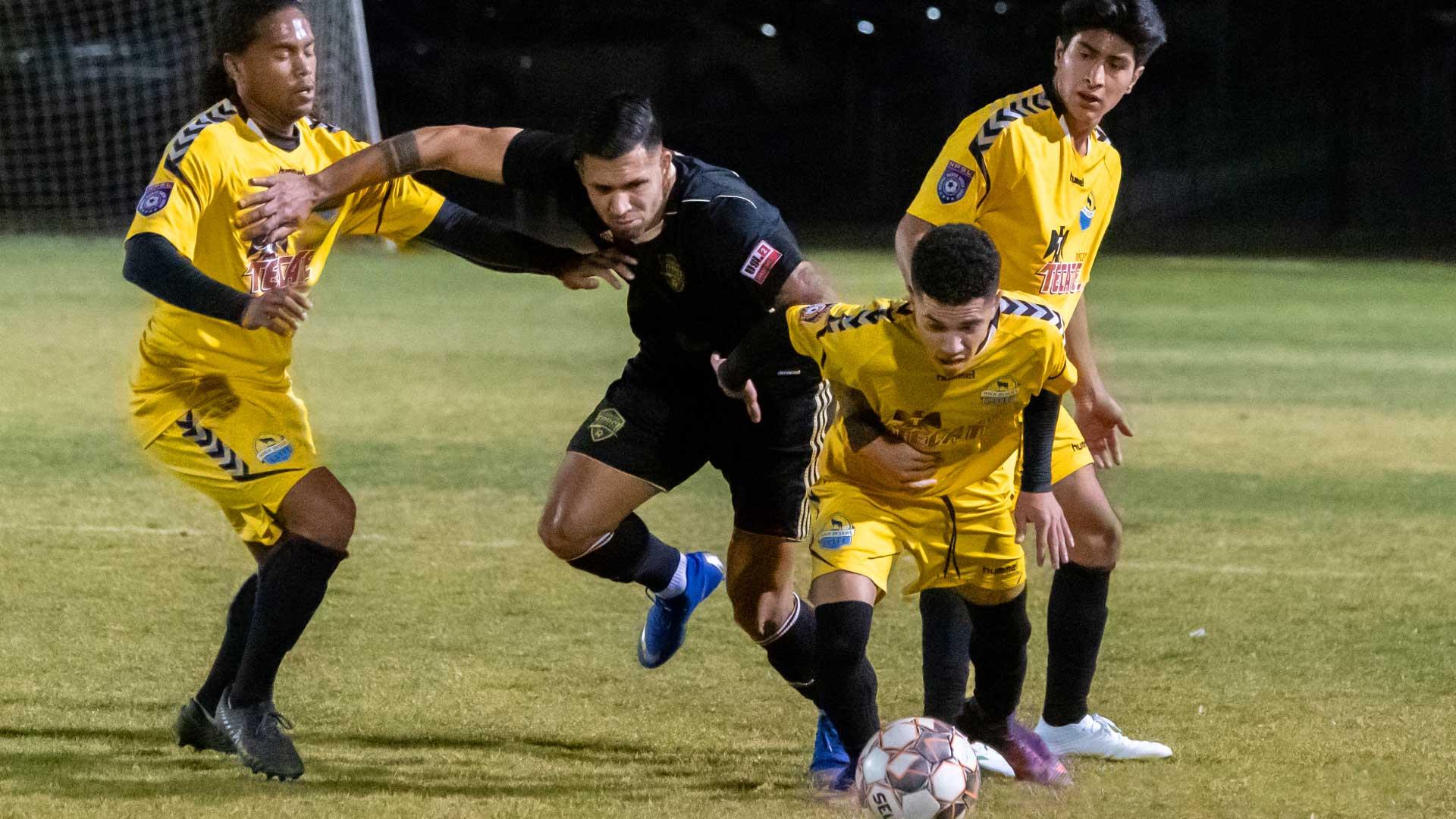 High Desert Elite NPSL Team's Christian Gonzalez (center), Carlos Cruz (right), and Glenn Verley (left)
