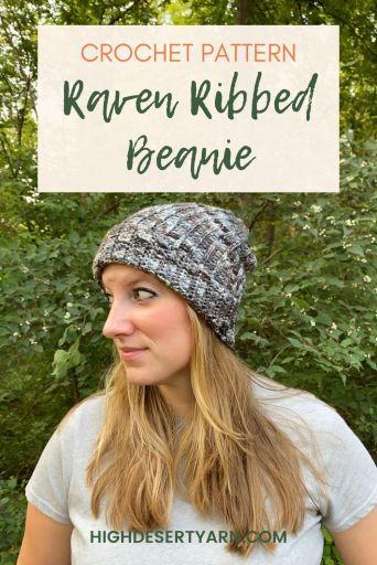 raven ribbed crochet beanie pattern high desert yarn pinterest