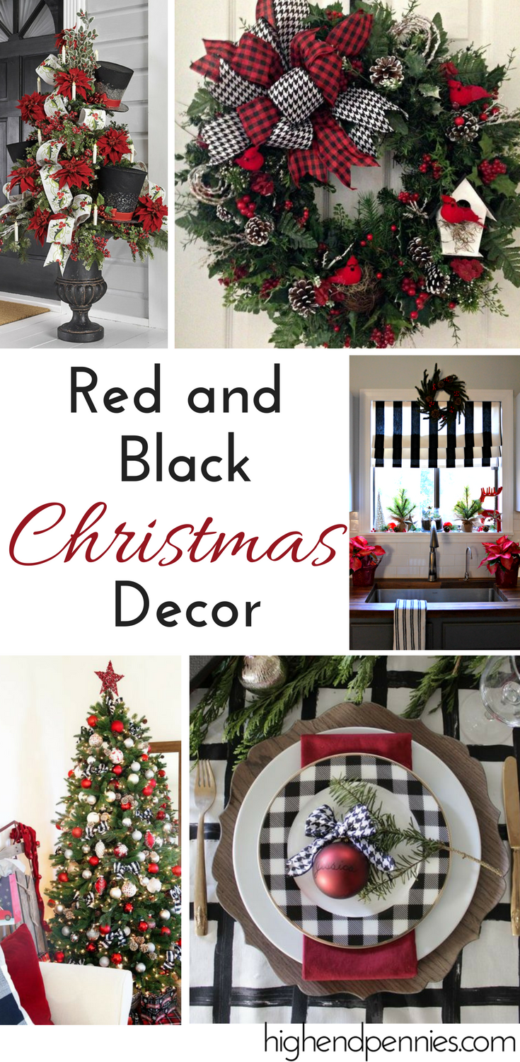 red black christmas decor