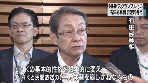 石田総務相NHKスクランブル否定
