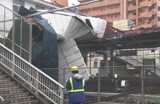 JR東千葉駅 屋根 吹っ飛ぶ