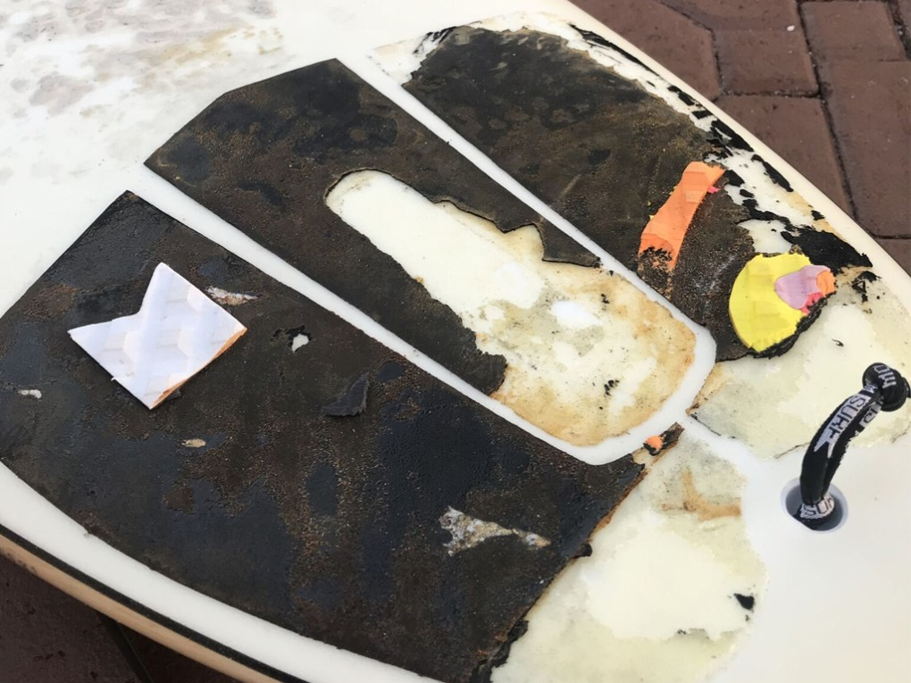 Surfboard Traction Pad Removal - Remnants of Peeling
