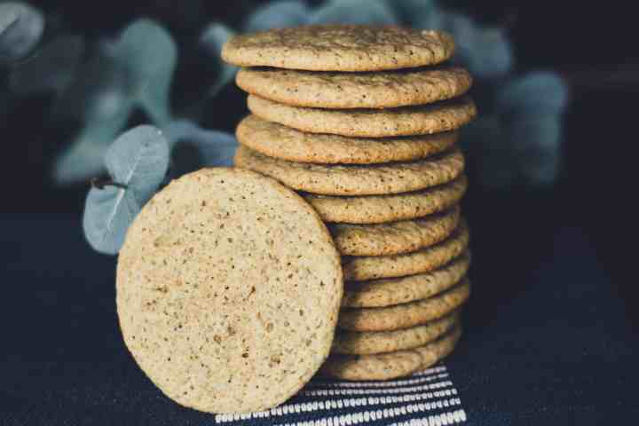 image of a stack of lemon poppy oat cookies