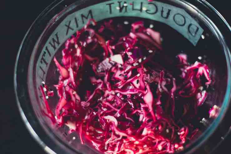 image shows slaw for vegan tempeh tacos
