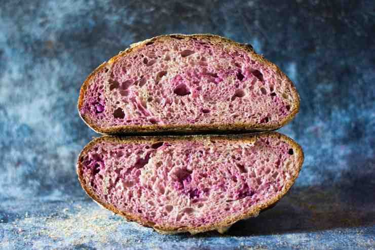 image of crumb shot of purple sweet potato sourdough