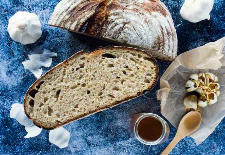 image of honey roasted garlic sourdough loaf recipe