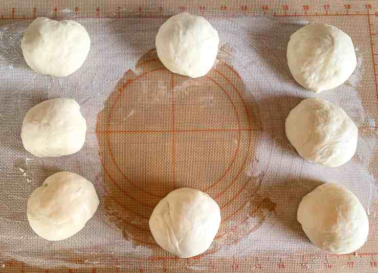 image of balled up dough for sourdough red bean buns