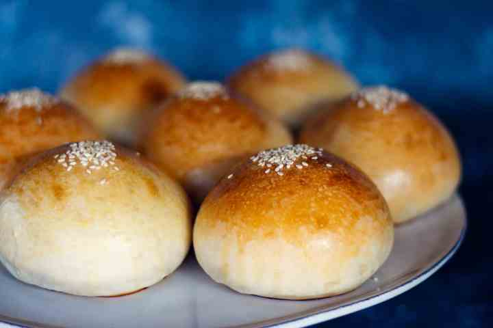 image of baked sourdough red bean buns recipe