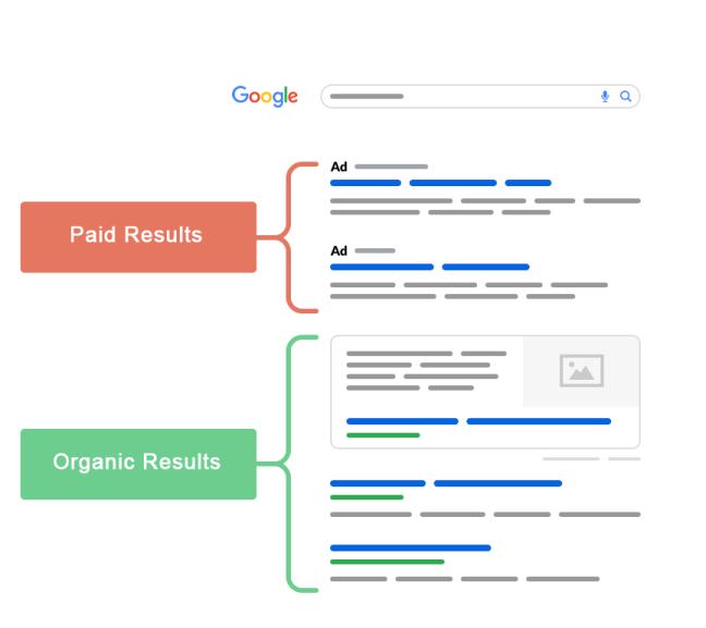 Τα αποτελέσματα αναζήτησης επί πληρωμή και τα οργανικά αποτελέσματα αναζήτησης.