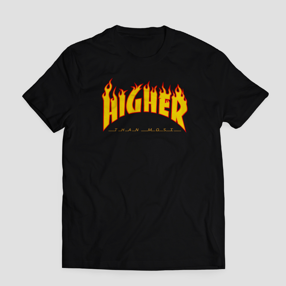 Higher Than Most Fire T Shirt In Black Higher Apparel T Shirts