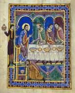 Feast in the House of Simon Levi, St Albans Psalter, c 1130, Hildesheim, Dombibliothek Ms Godehard 1.