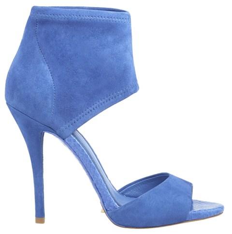 blue suede high heels