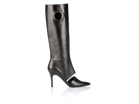 Black Calfskin High Heel Boot