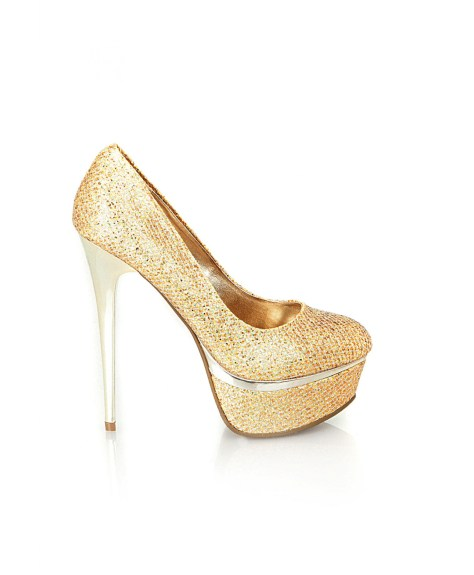 Gold Very High Heels