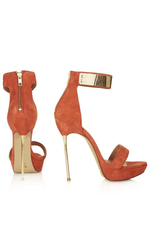Gold and Coral High Heel Sandals