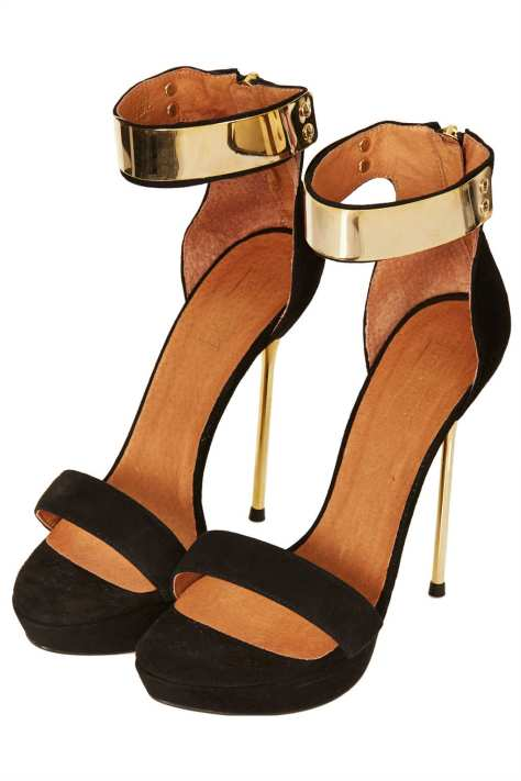 High Heel Black and Gold Sandals