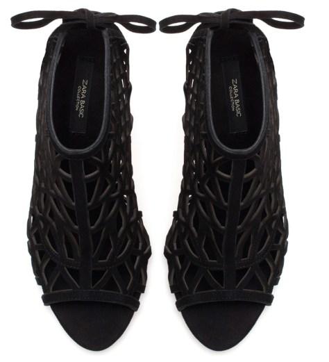 Zara Black High Heel Peep Toe Sandals