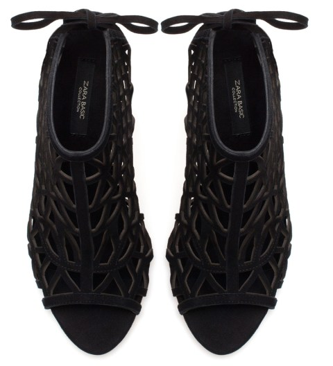 Zara Black High Heel Peep Toe Sandals