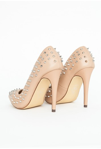 High Heel Beige Court Shoes