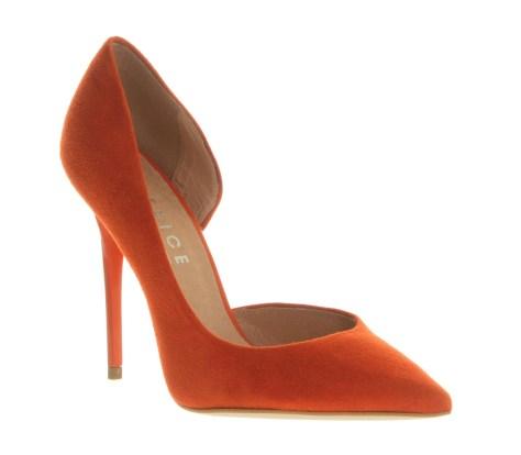 Orange Suede High Heel Shoes